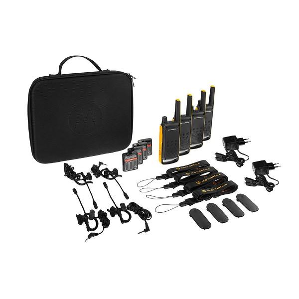 Motorola t82 extreme negro amarillo cuarteto walkie talkies 10km resistencia ipx4 linterna led 16 canales 121 códigos de privacidad